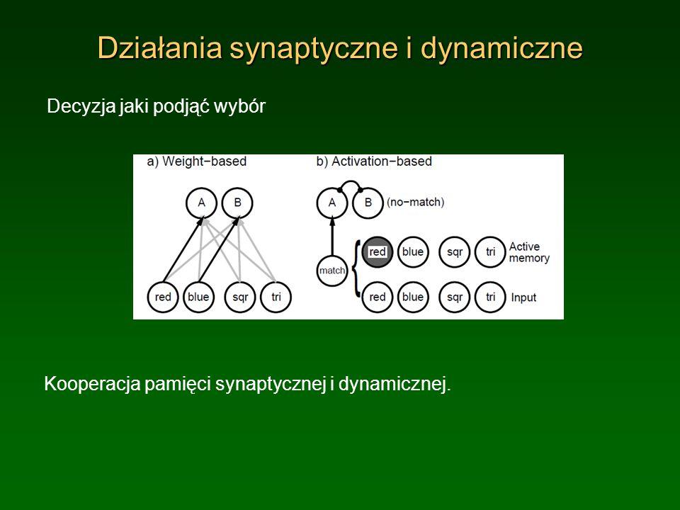 Działania synaptyczne i dynamiczne Decyzja jaki podjąć wybór Kooperacja pamięci synaptycznej i dynamicznej.