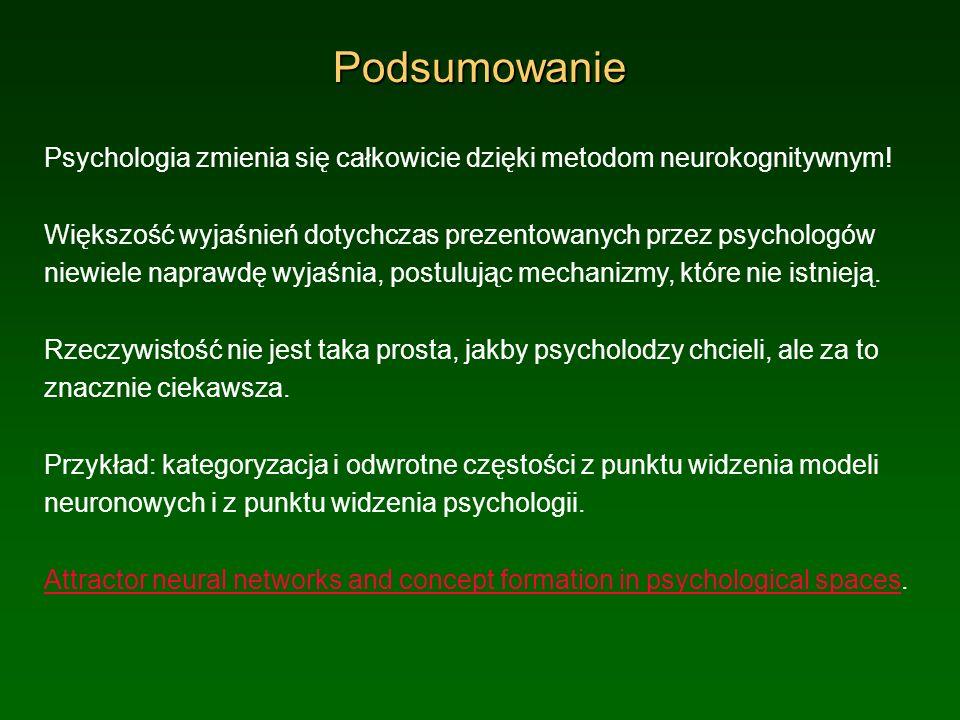 Podsumowanie Psychologia zmienia się całkowicie dzięki metodom neurokognitywnym! Większość wyjaśnień dotychczas prezentowanych przez psychologów niewi