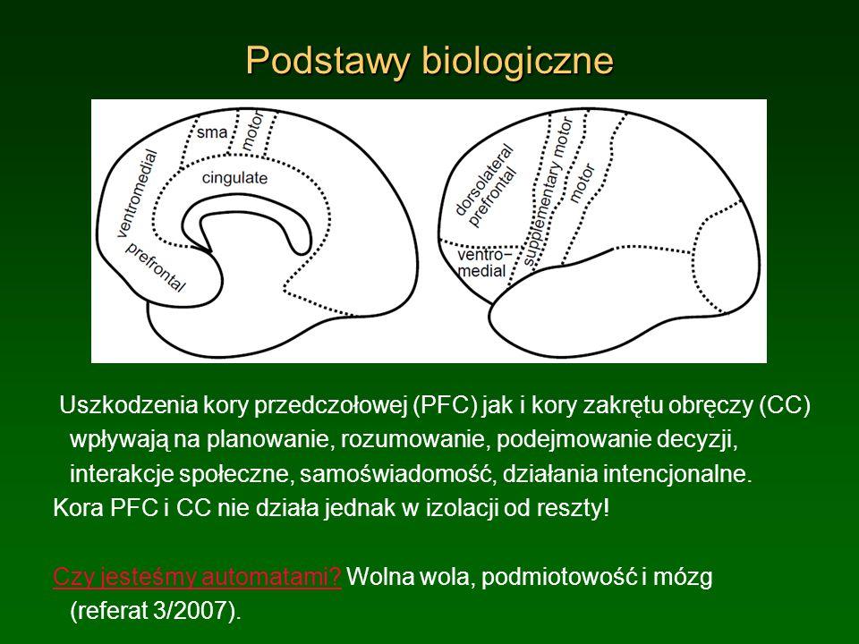 Podstawy biologiczne Uszkodzenia kory przedczołowej (PFC) jak i kory zakrętu obręczy (CC) wpływają na planowanie, rozumowanie, podejmowanie decyzji, i