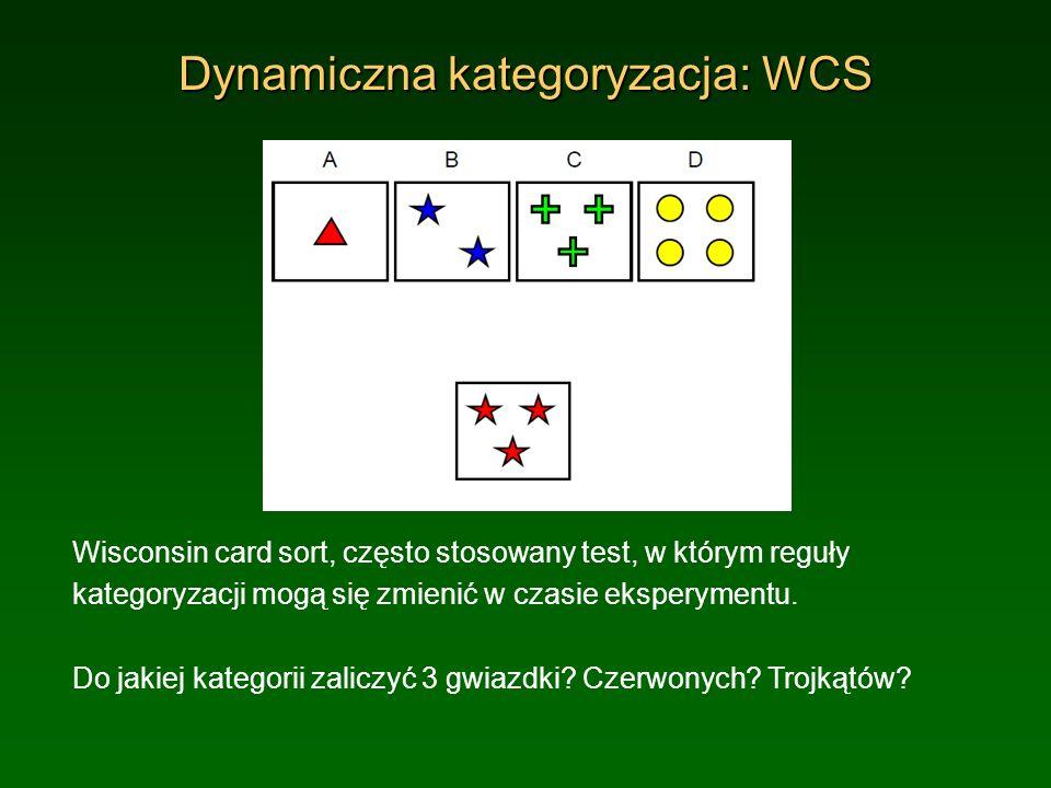 Dynamiczna kategoryzacja: WCS Wisconsin card sort, często stosowany test, w którym reguły kategoryzacji mogą się zmienić w czasie eksperymentu. Do jak