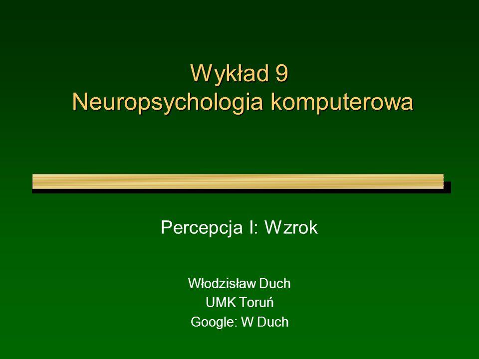 Wykład 9 Neuropsychologia komputerowa Percepcja I: Wzrok Włodzisław Duch UMK Toruń Google: W Duch
