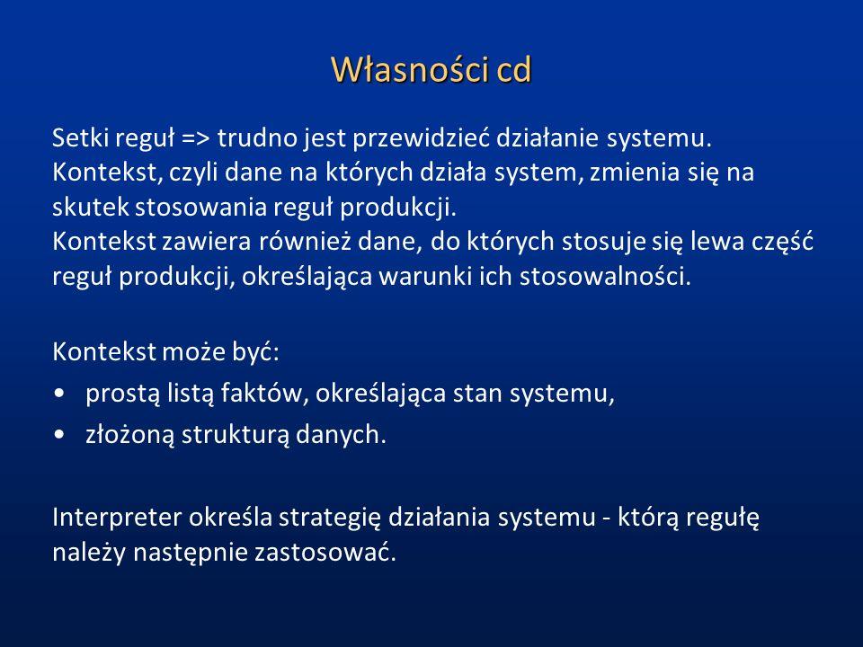 Własności cd Setki reguł => trudno jest przewidzieć działanie systemu.