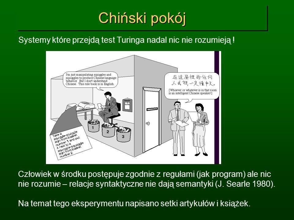 Chiński pokój Systemy które przejdą test Turinga nadal nic nie rozumieją ! Człowiek w środku postępuje zgodnie z regułami (jak program) ale nic nie ro
