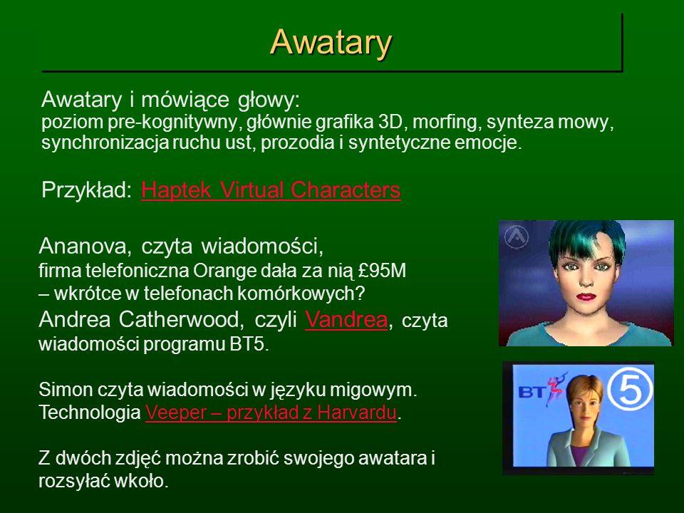 AwataryAwatary Awatary i mówiące głowy: poziom pre-kognitywny, głównie grafika 3D, morfing, synteza mowy, synchronizacja ruchu ust, prozodia i syntety
