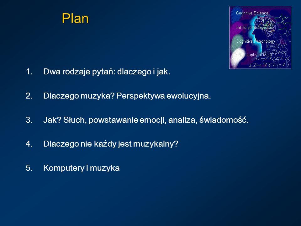 Plan 1.Dwa rodzaje pytań: dlaczego i jak. 2.Dlaczego muzyka? Perspektywa ewolucyjna. 3.Jak? Słuch, powstawanie emocji, analiza, świadomość. 4.Dlaczego