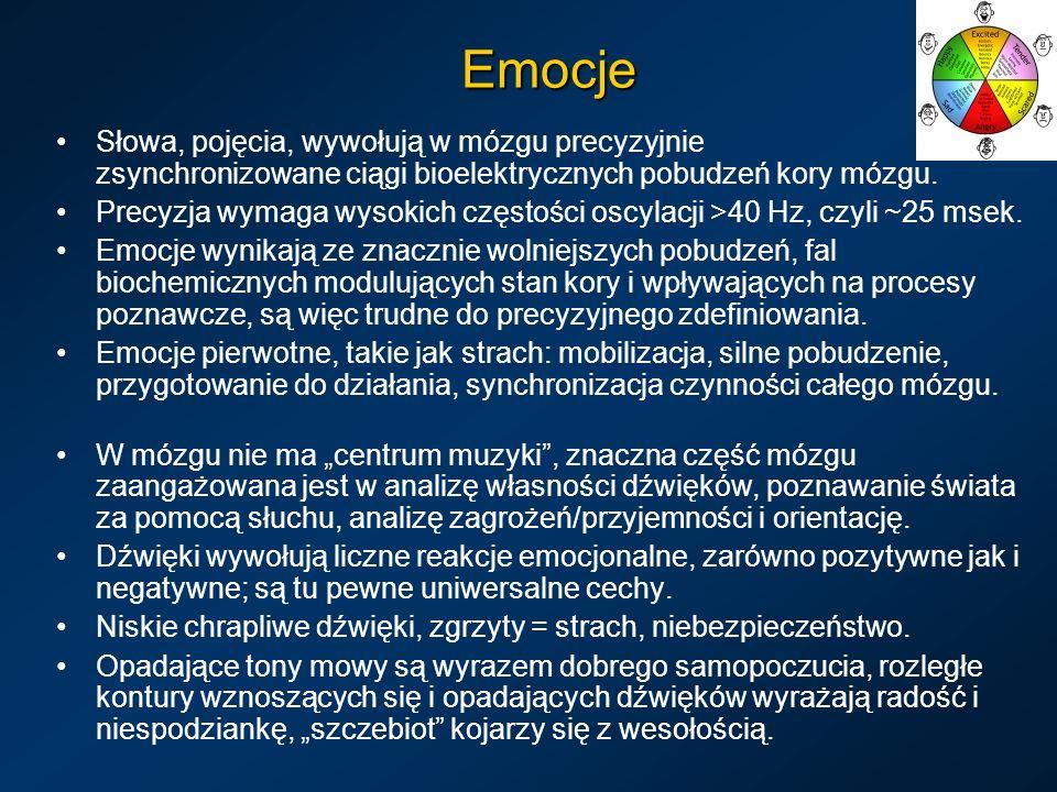 Emocje Słowa, pojęcia, wywołują w mózgu precyzyjnie zsynchronizowane ciągi bioelektrycznych pobudzeń kory mózgu. Precyzja wymaga wysokich częstości os