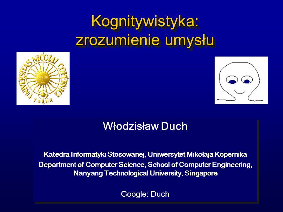 Kognitywistyka: zrozumienie umysłu Włodzisław Duch Katedra Informatyki Stosowanej, Uniwersytet Mikołaja Kopernika Department of Computer Science, Scho