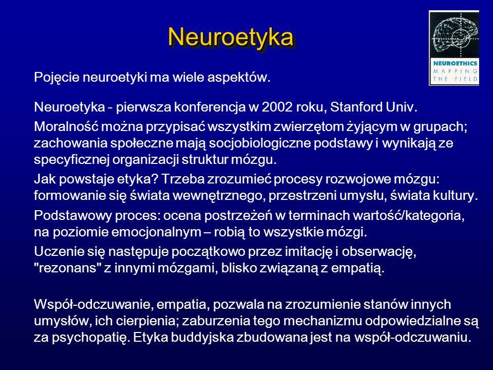 NeuroetykaNeuroetyka Pojęcie neuroetyki ma wiele aspektów. Neuroetyka - pierwsza konferencja w 2002 roku, Stanford Univ. Moralność można przypisać wsz