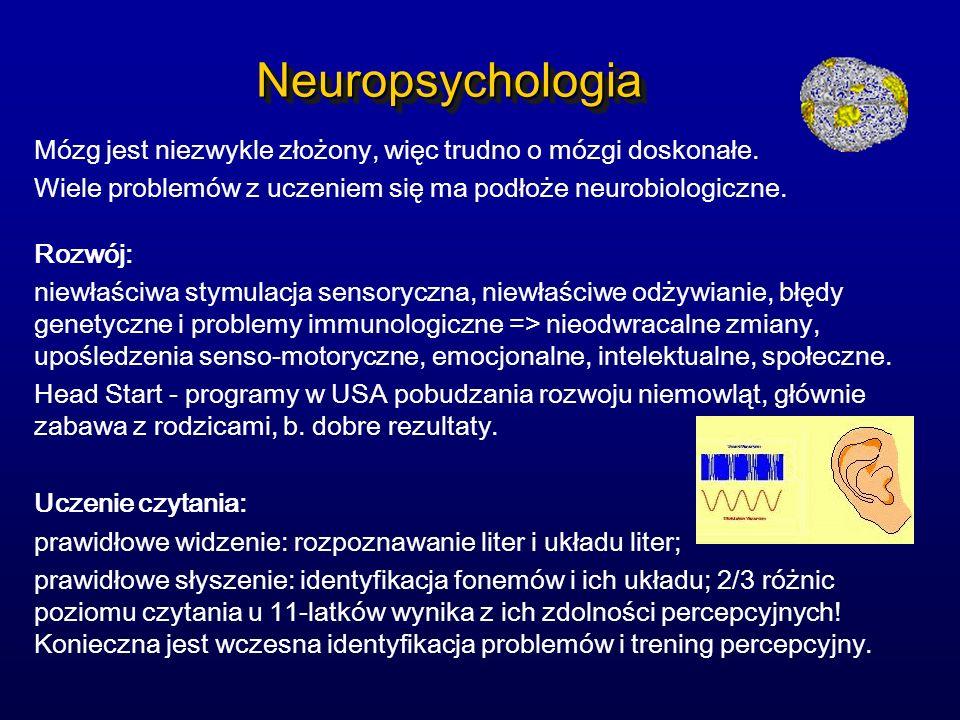 NeuropsychologiaNeuropsychologia Mózg jest niezwykle złożony, więc trudno o mózgi doskonałe. Wiele problemów z uczeniem się ma podłoże neurobiologiczn
