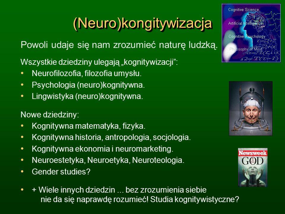 (Neuro)kongitywizacja(Neuro)kongitywizacja Powoli udaje się nam zrozumieć naturę ludzką. Wszystkie dziedziny ulegają kognitywizacji: Neurofilozofia, f