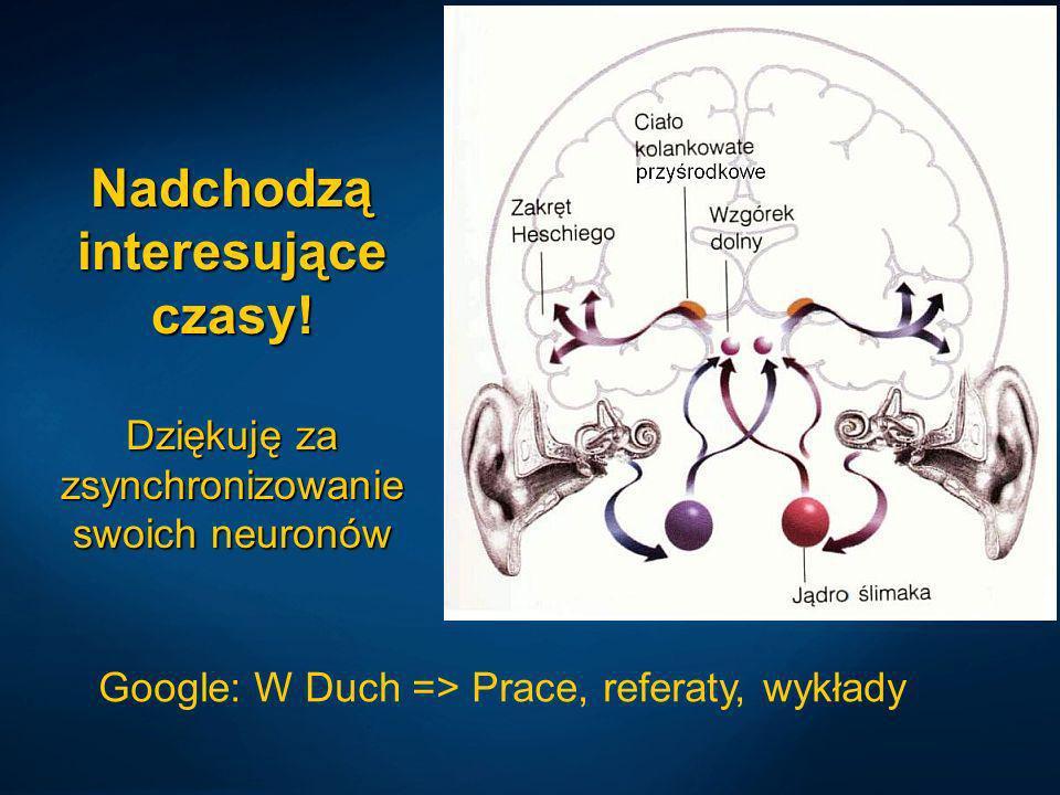 Nadchodzą interesujące czasy! Dziękuję za zsynchronizowanie swoich neuronów Google: W Duch => Prace, referaty, wykłady