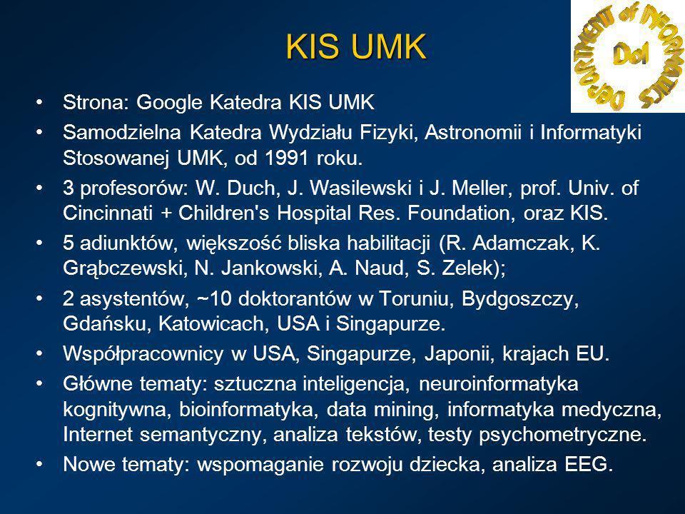 KIS UMK Strona: Google Katedra KIS UMK Samodzielna Katedra Wydziału Fizyki, Astronomii i Informatyki Stosowanej UMK, od 1991 roku. 3 profesorów: W. Du