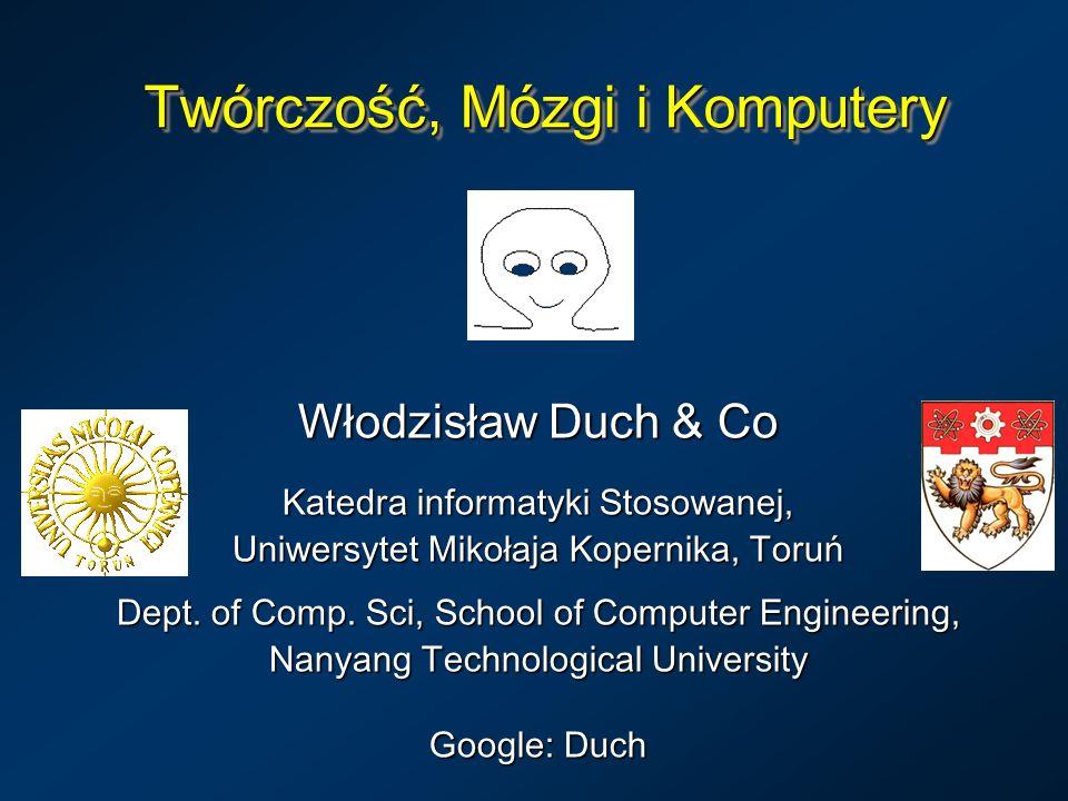 Twórczość, Mózgi i Komputery Włodzisław Duch & Co Katedra informatyki Stosowanej, Uniwersytet Mikołaja Kopernika, Toruń Dept. of Comp. Sci, School of