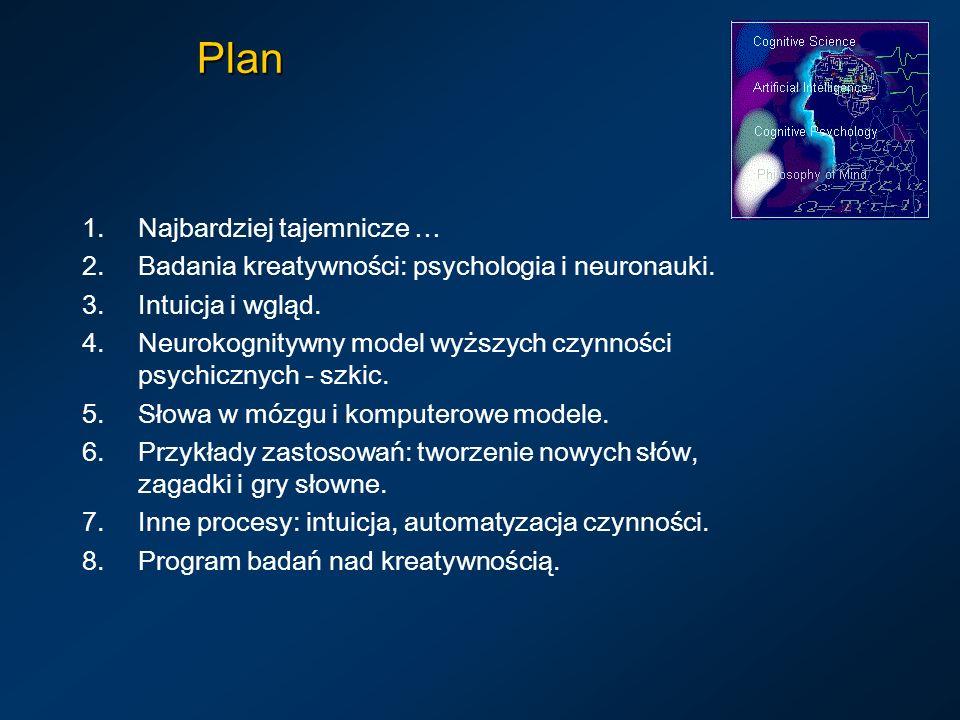Plan 1.Najbardziej tajemnicze … 2.Badania kreatywności: psychologia i neuronauki. 3.Intuicja i wgląd. 4.Neurokognitywny model wyższych czynności psych