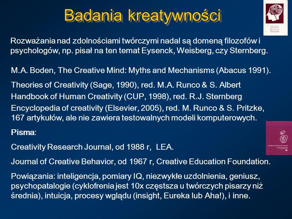 Badania kreatywności Rozważania nad zdolnościami twórczymi nadal są domeną filozofów i psychologów, np. pisał na ten temat Eysenck, Weisberg, czy Ster