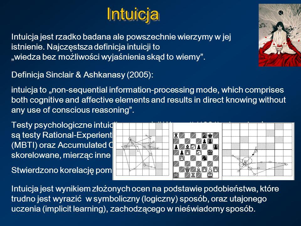 IntuicjaIntuicja Intuicja jest rzadko badana ale powszechnie wierzymy w jej istnienie. Najczęstsza definicja intuicji to wiedza bez możliwości wyjaśni