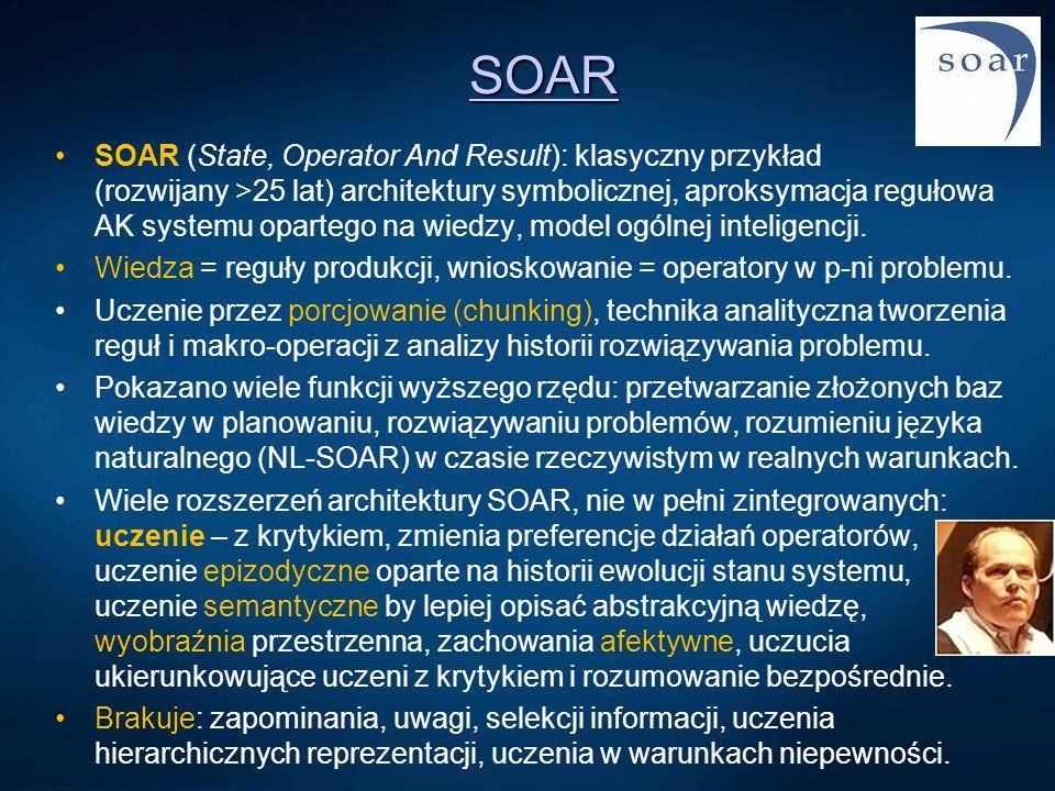 SOAR SOAR (State, Operator And Result): klasyczny przykład (rozwijany >25 lat) architektury symbolicznej, aproksymacja regułowa AK systemu opartego na