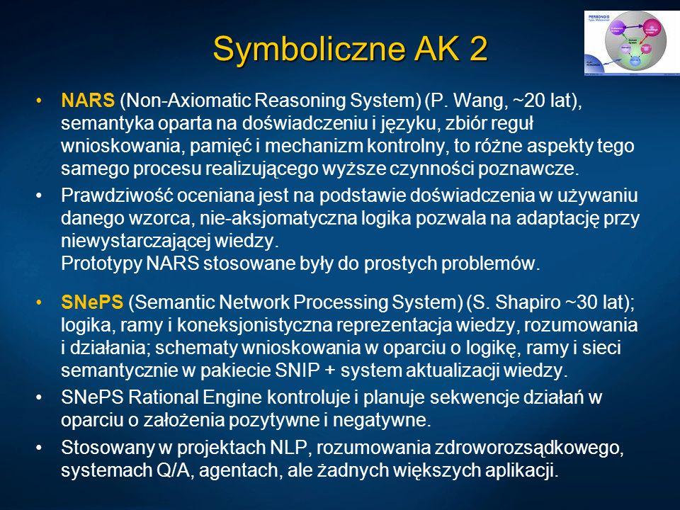 Symboliczne AK 2 NARS (Non-Axiomatic Reasoning System) (P. Wang, ~20 lat), semantyka oparta na doświadczeniu i języku, zbiór reguł wnioskowania, pamię