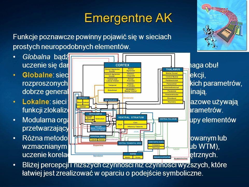 Emergentne AK Funkcje poznawcze powinny pojawić się w sieciach prostych neuropodobnych elementów. Globalna bądź lokalna organizacja pamięci: uczenie s