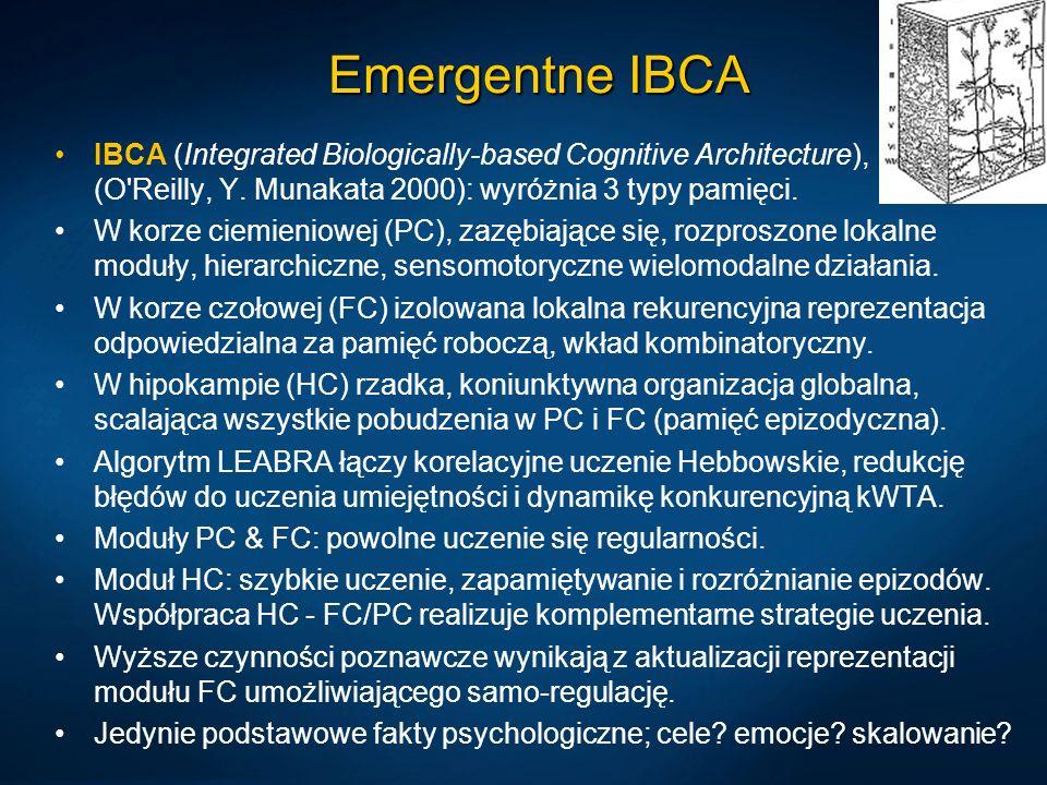 Emergentne IBCA IBCA (Integrated Biologically-based Cognitive Architecture), (O'Reilly, Y. Munakata 2000): wyróżnia 3 typy pamięci. W korze ciemieniow
