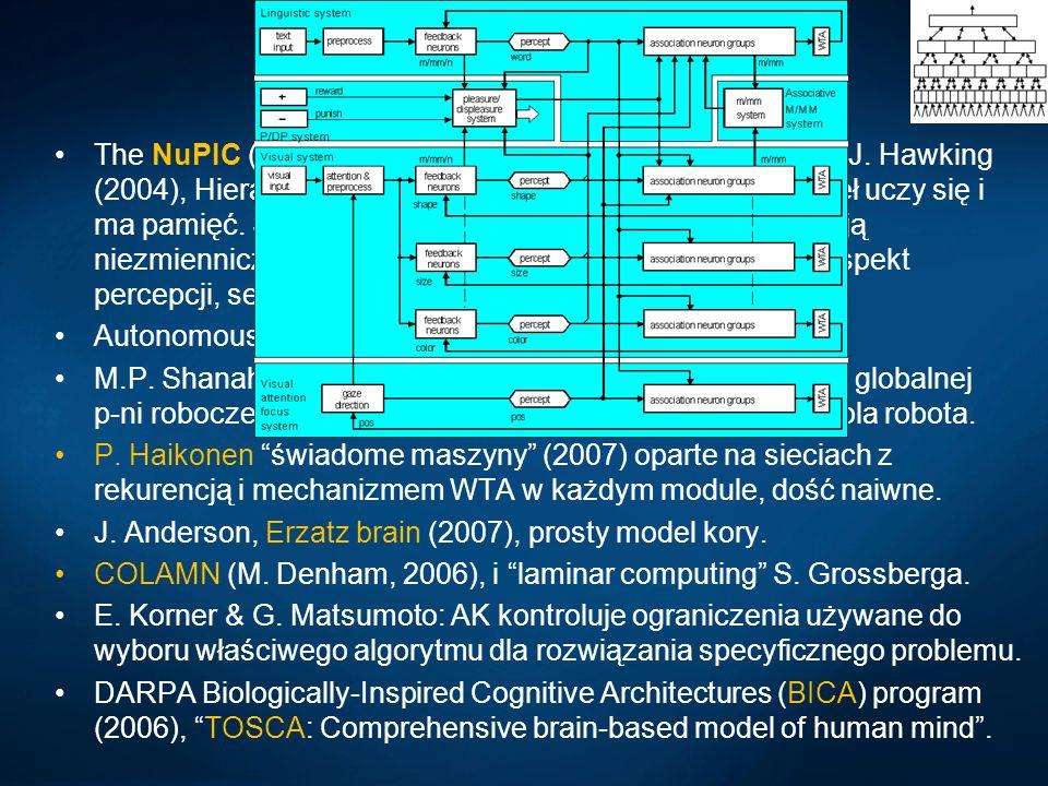 Emergente trendy The NuPIC (Numenta Platform for Intelligent Computing), J. Hawking (2004), Hierarchical Temporal Memory (HTM), każdy węzeł uczy się i