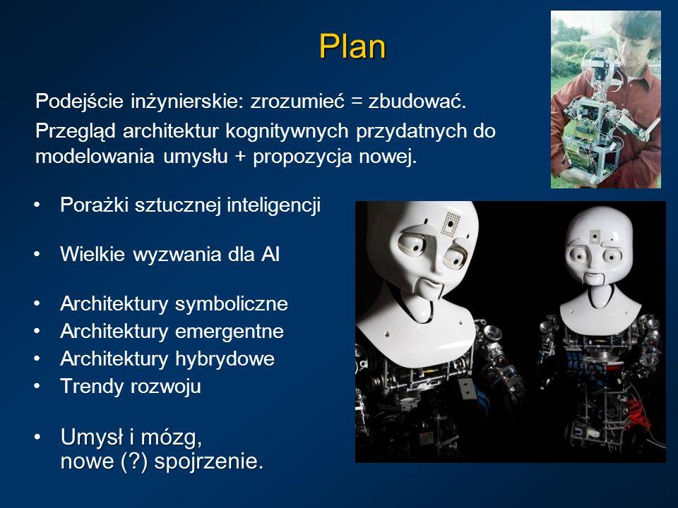 Plan Podejście inżynierskie: zrozumieć = zbudować. Przegląd architektur kognitywnych przydatnych do modelowania umysłu + propozycja nowej. Porażki szt