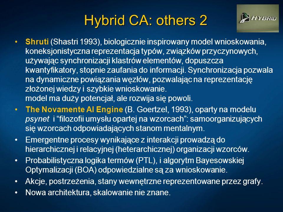 Hybrid CA: others 2 Shruti (Shastri 1993), biologicznie inspirowany model wnioskowania, koneksjonistyczna reprezentacja typów, związków przyczynowych,
