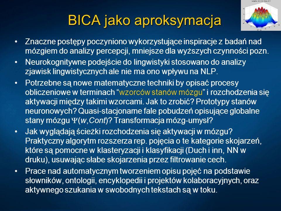 BICA jako aproksymacja Znaczne postępy poczyniono wykorzystujące inspiracje z badań nad mózgiem do analizy percepcji, mniejsze dla wyższych czynności