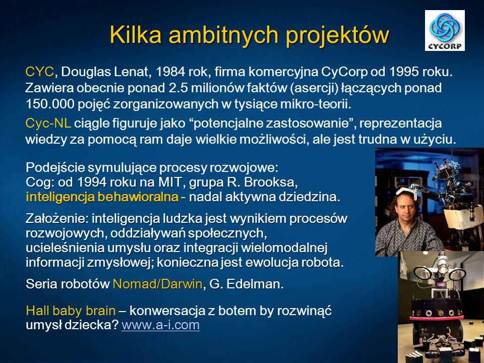 Kilka ambitnych projektów CYC, Douglas Lenat, 1984 rok, firma komercyjna CyCorp od 1995 roku. Zawiera obecnie ponad 2.5 milionów faktów (asercji) łącz
