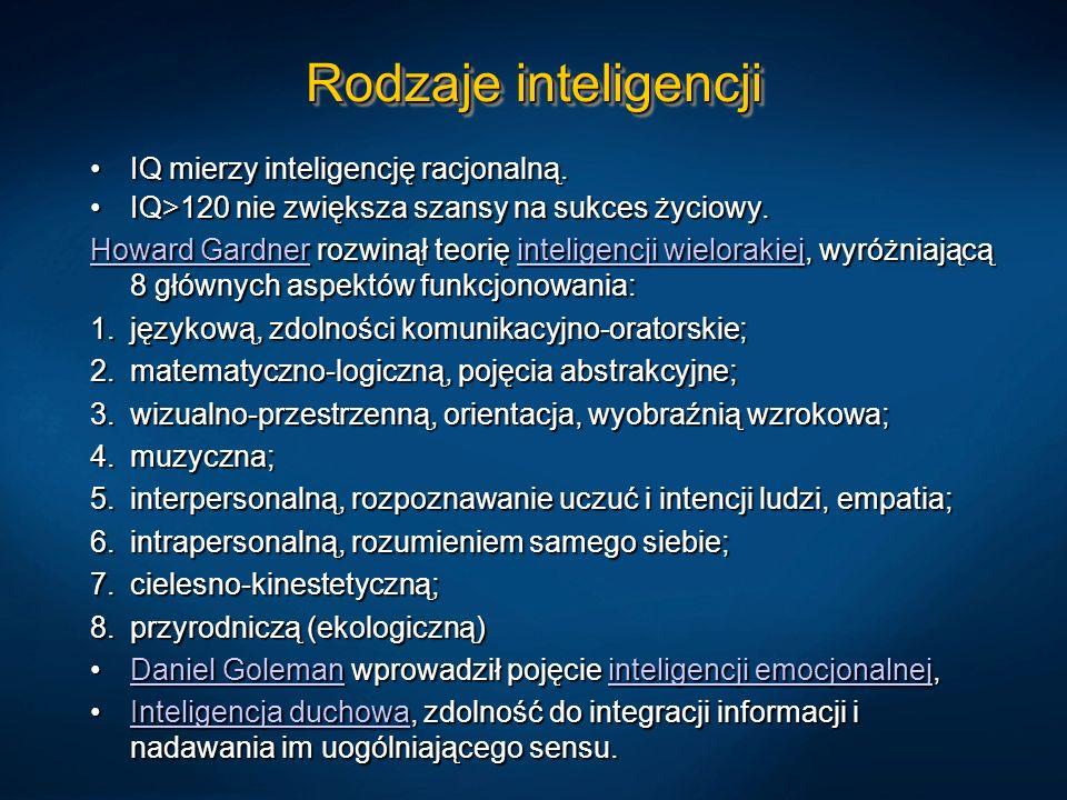 Rodzaje inteligencji IQ mierzy inteligencję racjonalną.IQ mierzy inteligencję racjonalną. IQ>120 nie zwiększa szansy na sukces życiowy.IQ>120 nie zwię