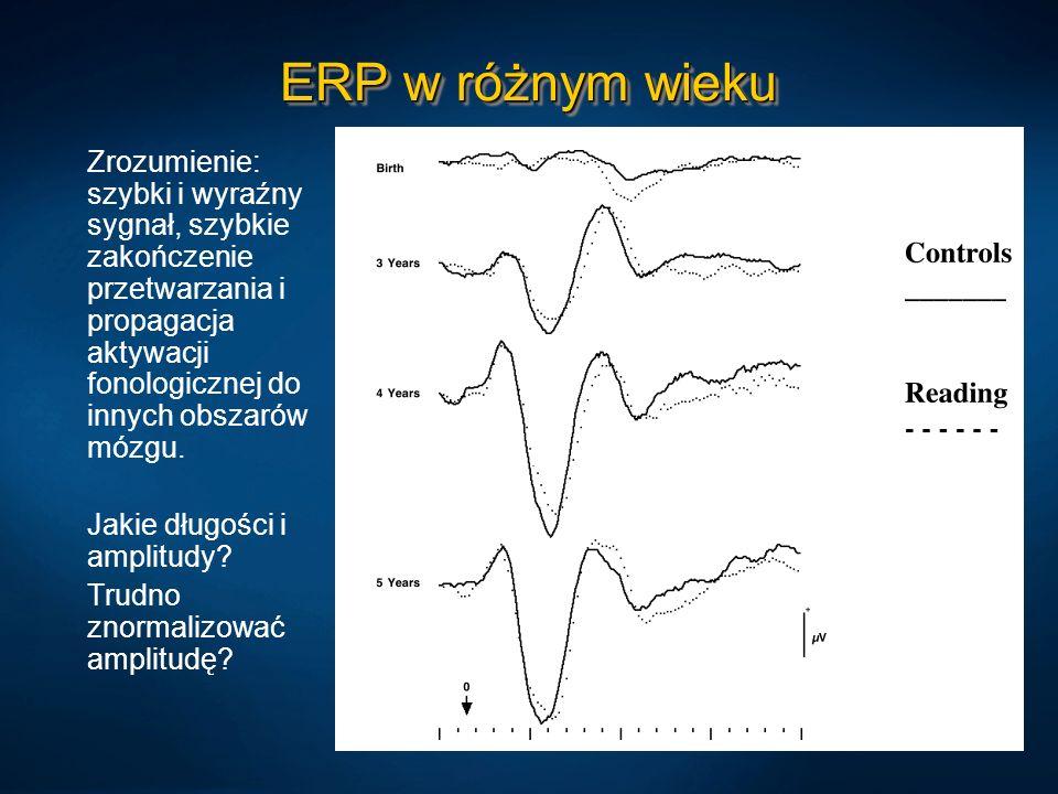 ERP w różnym wieku Zrozumienie: szybki i wyraźny sygnał, szybkie zakończenie przetwarzania i propagacja aktywacji fonologicznej do innych obszarów móz