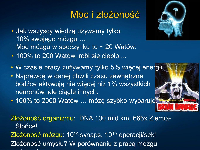Moc i złożoność Jak wszyscy wiedzą używamy tylko 10% swojego mózgu … Moc mózgu w spoczynku to ~ 20 Watów. 100% to 200 Watów, robi się ciepło... W czas
