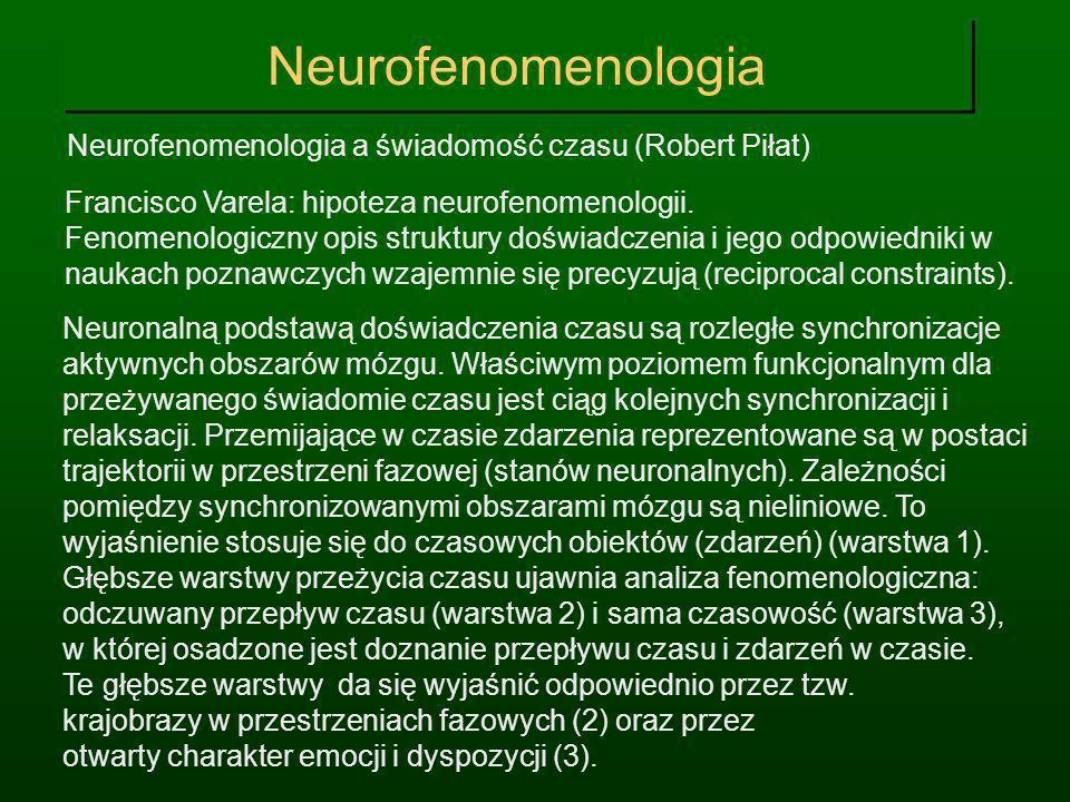 Neurofenomenologia Neurofenomenologia a świadomość czasu (Robert Piłat) Francisco Varela: hipoteza neurofenomenologii. Fenomenologiczny opis struktury