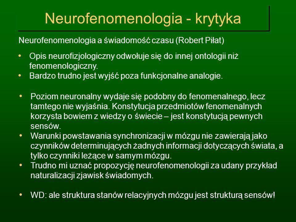 Neurofenomenologia - krytyka Neurofenomenologia a świadomość czasu (Robert Piłat) Opis neurofizjologiczny odwołuje się do innej ontologii niż fenomeno