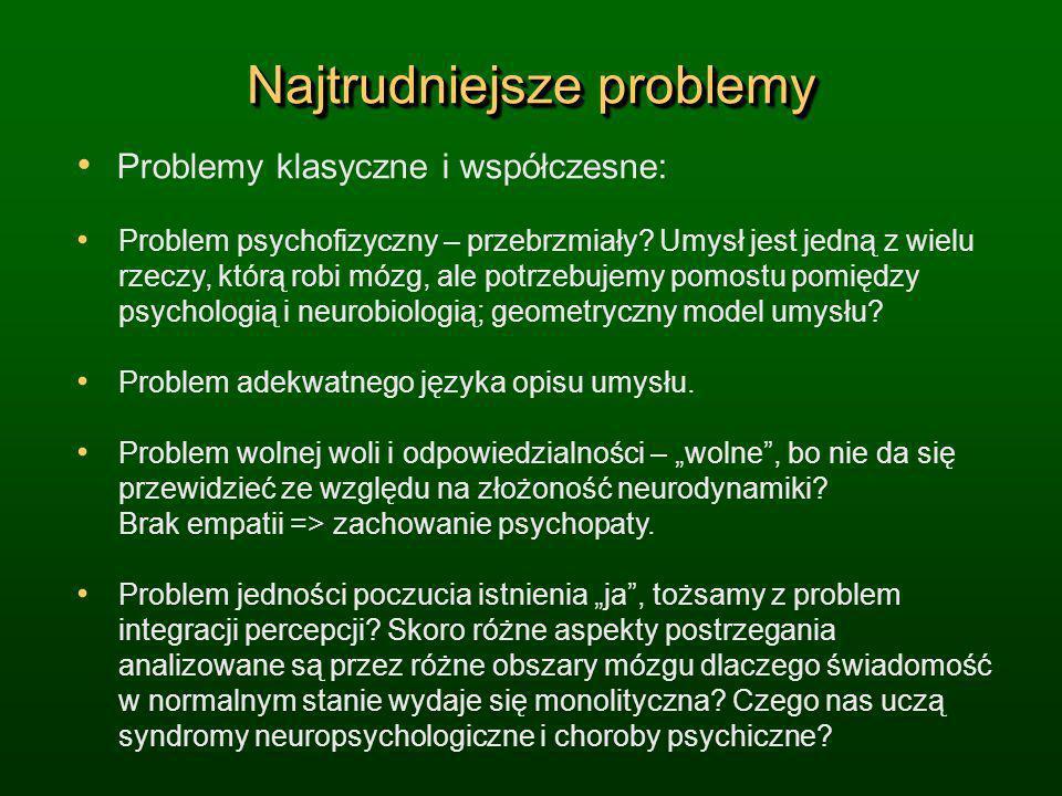 Najtrudniejsze problemy Problemy klasyczne i współczesne: Problem psychofizyczny – przebrzmiały? Umysł jest jedną z wielu rzeczy, którą robi mózg, ale