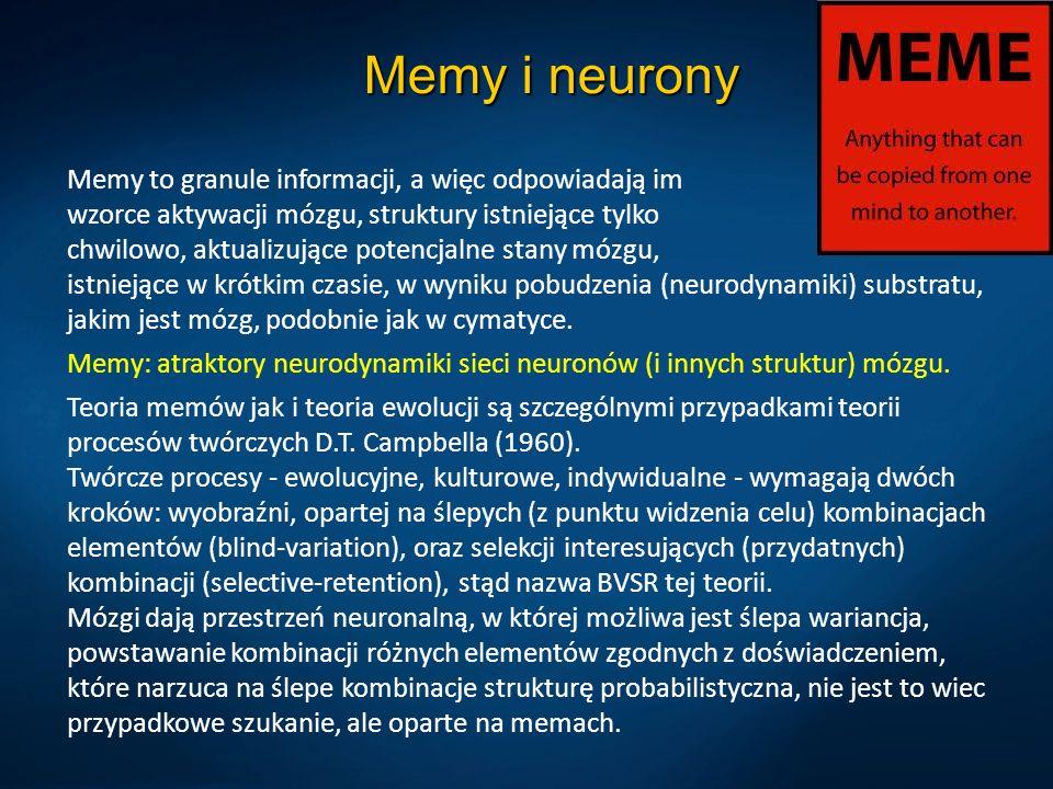 Memy i neurony Memy to granule informacji, a więc odpowiadają im wzorce aktywacji mózgu, struktury istniejące tylko chwilowo, aktualizujące potencjaln