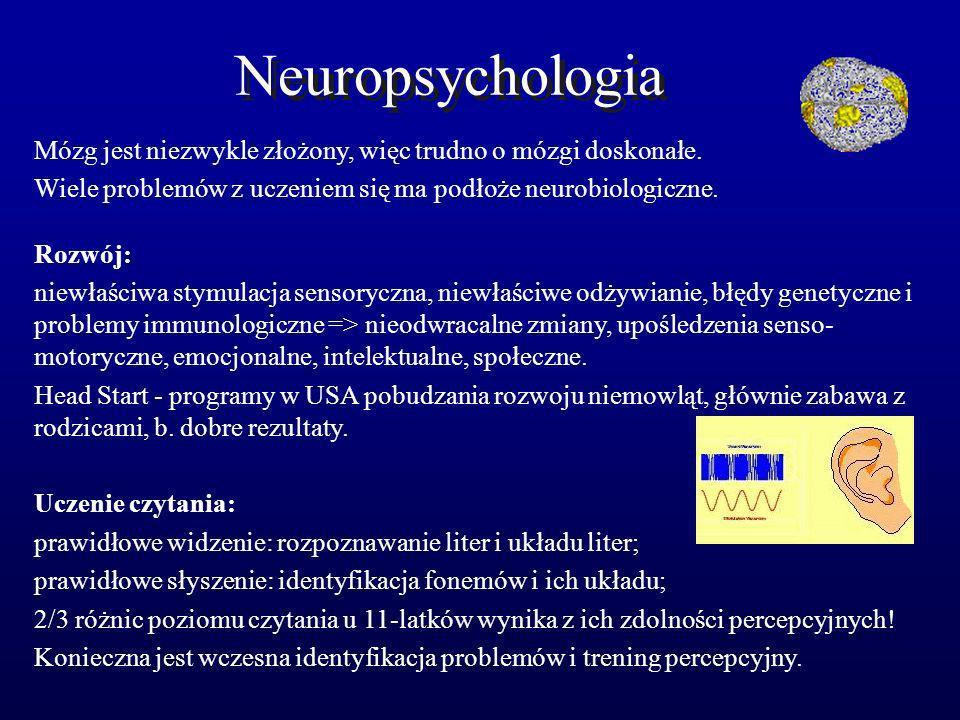 Neuropsychologia Mózg jest niezwykle złożony, więc trudno o mózgi doskonałe. Wiele problemów z uczeniem się ma podłoże neurobiologiczne. Rozwój: niewł