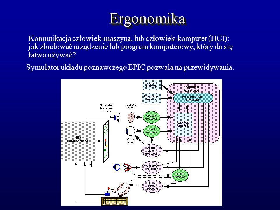 ErgonomikaErgonomika Komunikacja człowiek-maszyna, lub człowiek-komputer (HCI): jak zbudować urządzenie lub program komputerowy, który da się łatwo uż