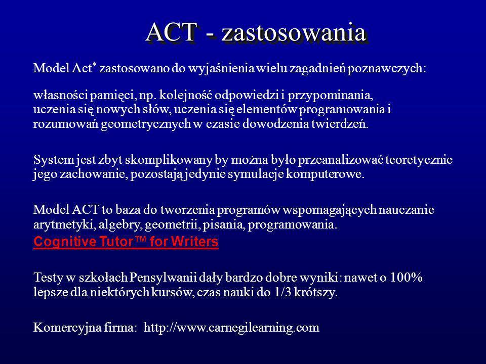 ACT - zastosowania Model Act * zastosowano do wyjaśnienia wielu zagadnień poznawczych: własności pamięci, np. kolejność odpowiedzi i przypominania, uc