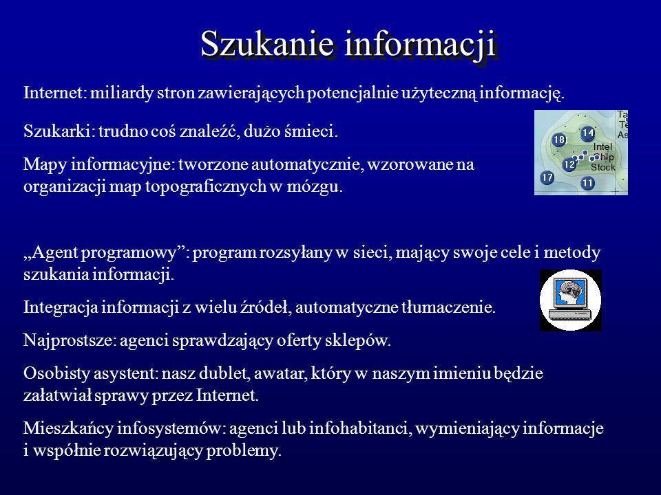 Szukanie informacji Internet: miliardy stron zawierających potencjalnie użyteczną informację. Szukarki: trudno coś znaleźć, dużo śmieci. Mapy informac