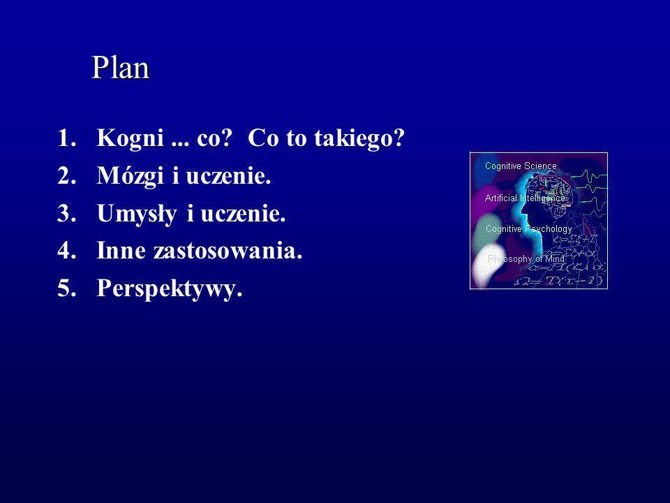 Plan 1.Kogni... co? Co to takiego? 2.Mózgi i uczenie. 3.Umysły i uczenie. 4.Inne zastosowania. 5.Perspektywy.
