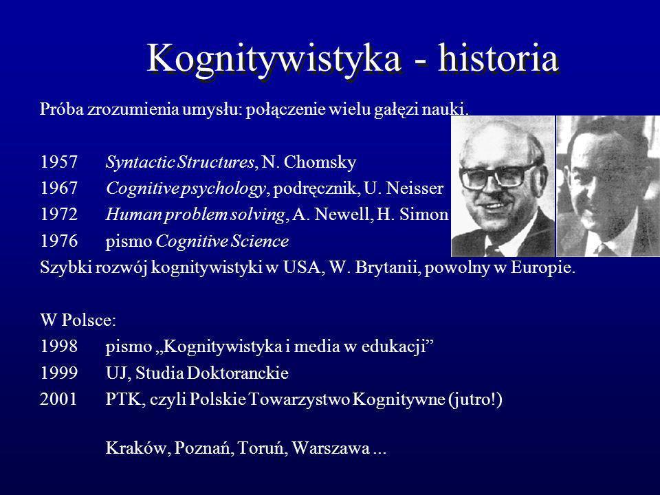 Kognitywistyka - historia Próba zrozumienia umysłu: połączenie wielu gałęzi nauki. 1957 Syntactic Structures, N. Chomsky 1967 Cognitive psychology, po