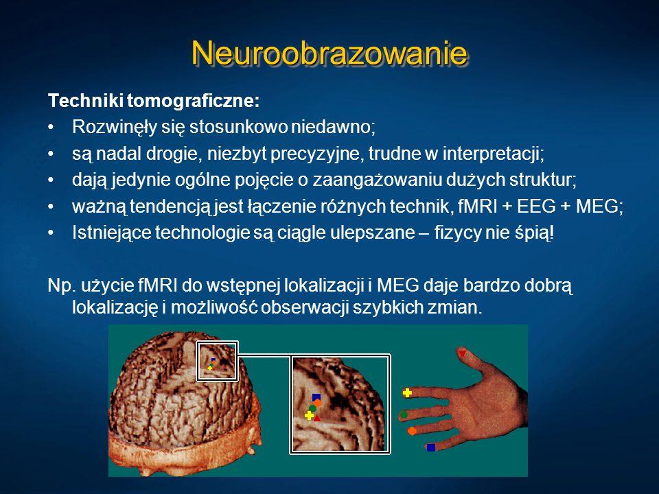 NeuroobrazowanieNeuroobrazowanie Techniki tomograficzne: Rozwinęły się stosunkowo niedawno; są nadal drogie, niezbyt precyzyjne, trudne w interpretacj