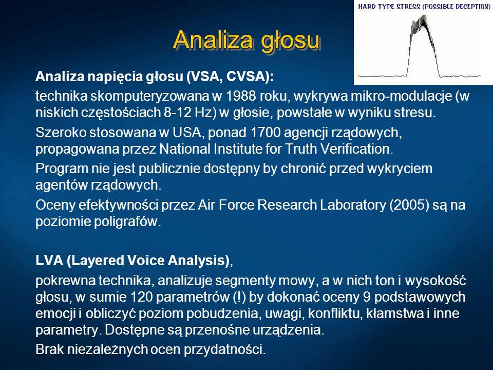 Analiza głosu Analiza napięcia głosu (VSA, CVSA): technika skomputeryzowana w 1988 roku, wykrywa mikro-modulacje (w niskich częstościach 8-12 Hz) w gł
