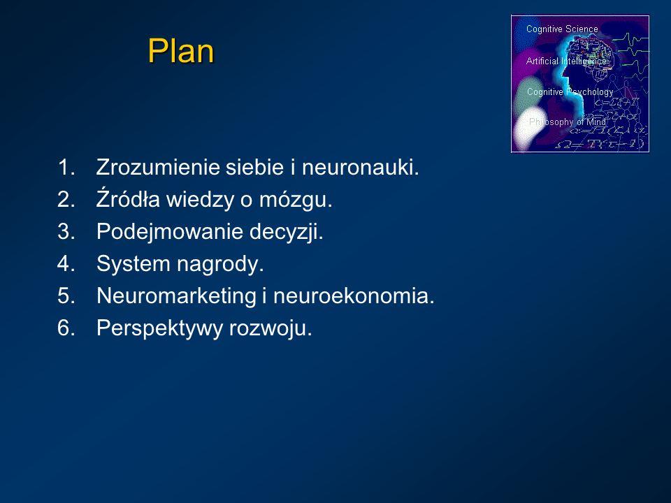 Plan 1.Zrozumienie siebie i neuronauki. 2.Źródła wiedzy o mózgu. 3.Podejmowanie decyzji. 4.System nagrody. 5.Neuromarketing i neuroekonomia. 6.Perspek