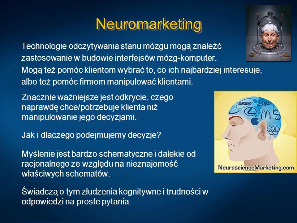 NeuromarketingNeuromarketing Technologie odczytywania stanu mózgu mogą znaleźć zastosowanie w budowie interfejsów mózg-komputer. Mogą też pomóc klient