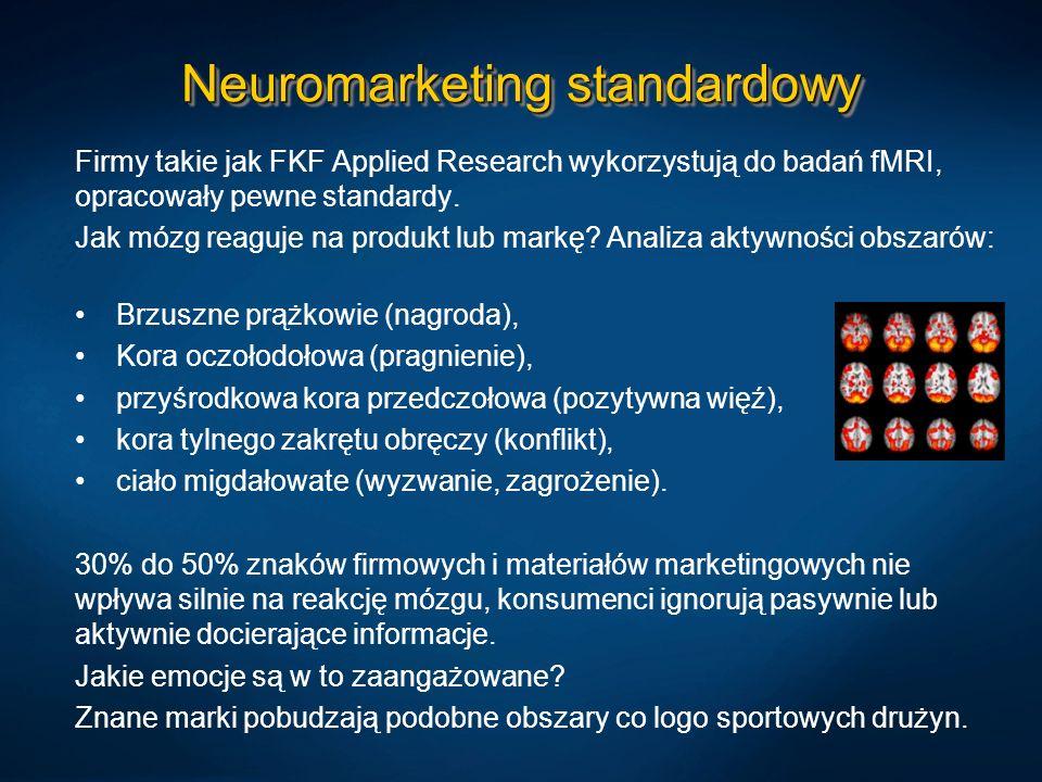 Neuromarketing standardowy Firmy takie jak FKF Applied Research wykorzystują do badań fMRI, opracowały pewne standardy. Jak mózg reaguje na produkt lu