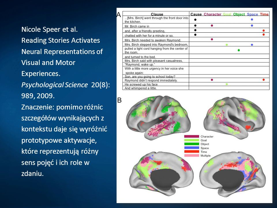 Nicole Speer et al. Reading Stories Activates Neural Representations of Visual and Motor Experiences. Psychological Science 20(8): 989, 2009. Znaczeni