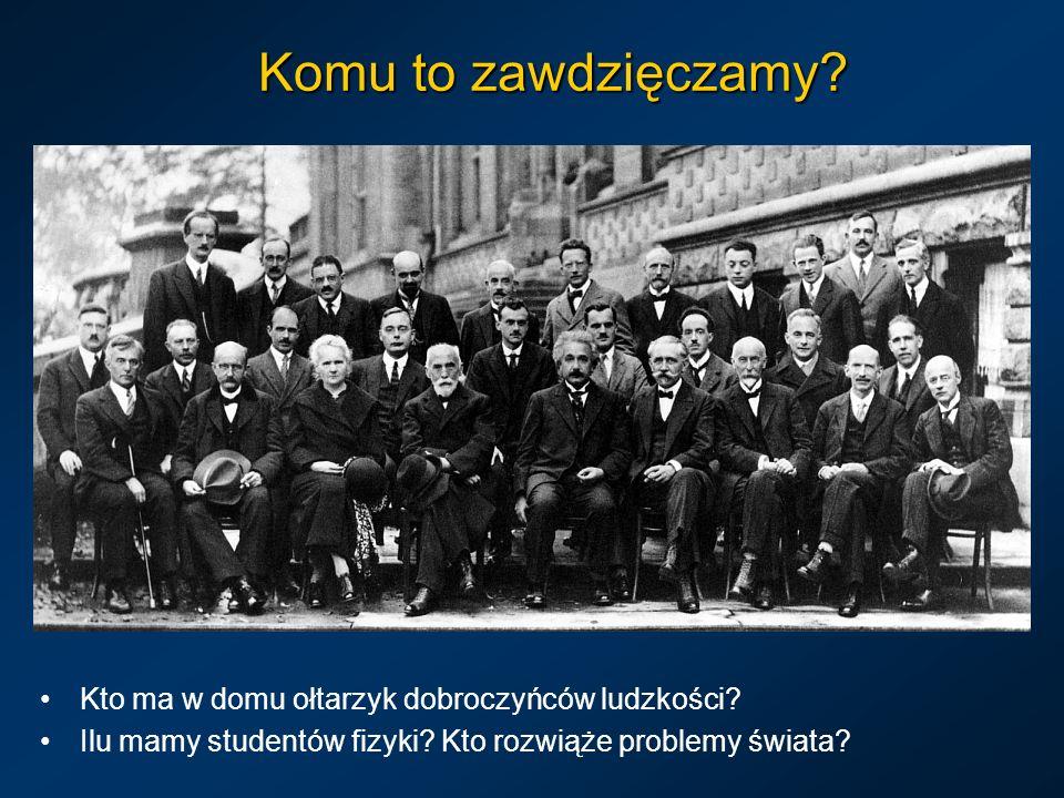 Komu to zawdzięczamy? Kto ma w domu ołtarzyk dobroczyńców ludzkości? Ilu mamy studentów fizyki? Kto rozwiąże problemy świata?