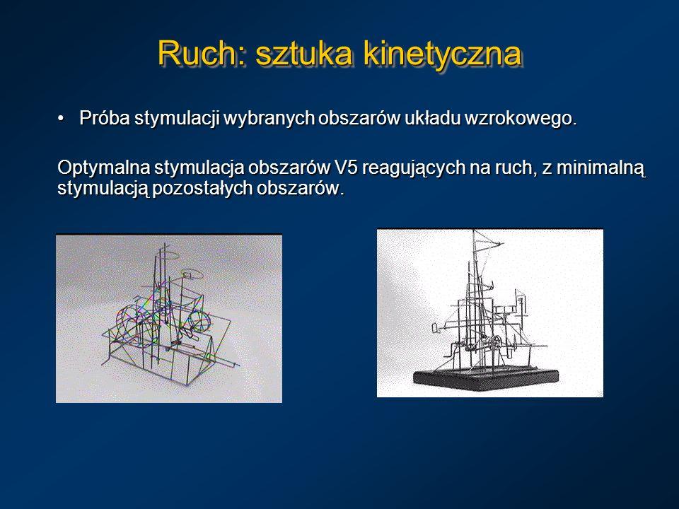 Ruch: sztuka kinetyczna Próba stymulacji wybranych obszarów układu wzrokowego. Próba stymulacji wybranych obszarów układu wzrokowego. Optymalna stymul
